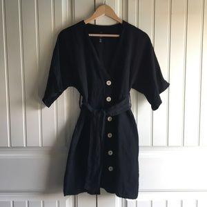 Zara Trafaluc Deep V Black Linen Dress